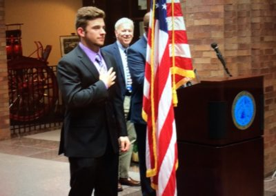 Logan Driscoll Leading the Pledge of Allegiance at New Haven's 380th Birthday Celebration